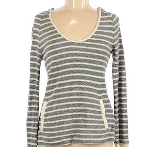 Roxy   gray and white striped hoodie top